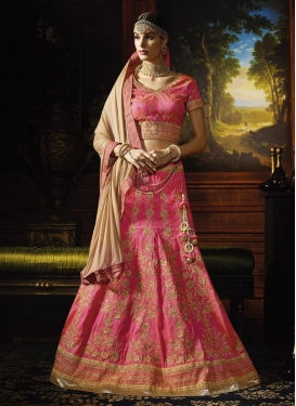 Beige and Rose Pink Silk Designer Lehenga Choli For Bridal