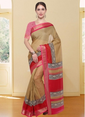Beige and Rose Pink Thread Work Traditional Saree