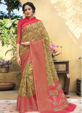 Beige and Rose Pink Traditional Saree For Casual