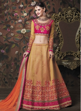 Beige and Rose Pink Trendy A Line Lehenga Choli