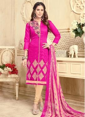 Beige and Rose Pink Trendy Churidar Salwar Kameez
