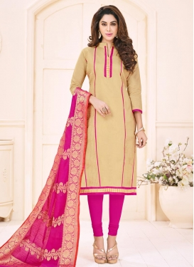 Beige and Rose Pink Trendy Churidar Suit For Ceremonial