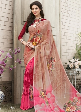 Beige and Rose Pink  Trendy Classic Saree
