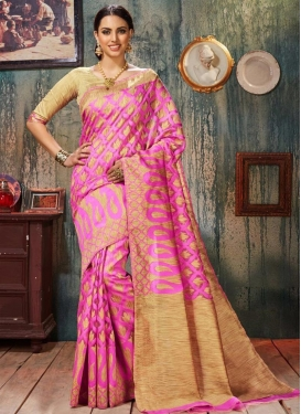 Beige and Rose Pink Trendy Saree