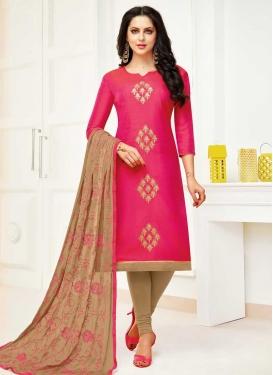 Beige and Rose Pink Trendy Straight Salwar Kameez For Ceremonial