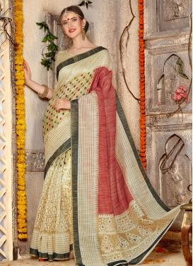 Beige and Rust Print Work Contemporary Saree