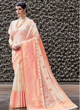 Beige and Salmon Contemporary Saree For Ceremonial