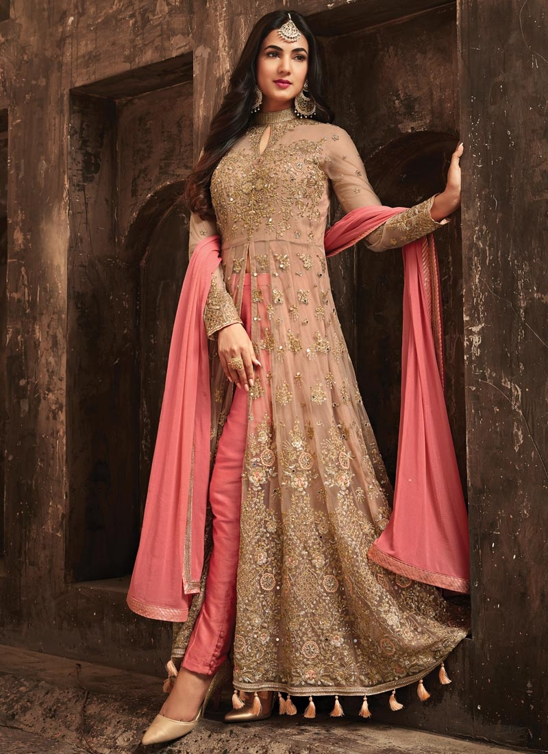 Beige and Salmon Embroidered Work Pant Style Classic Salwar Suit