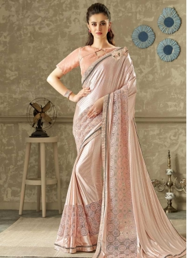 Beige and Salmon Embroidered Work Trendy Classic Saree