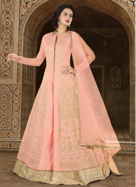 Beige and Salmon Jacquard Kameez Style Lehenga Choli For Festival
