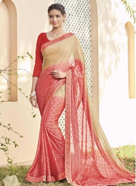 Beige and Salmon Lace Work Contemporary Style Saree