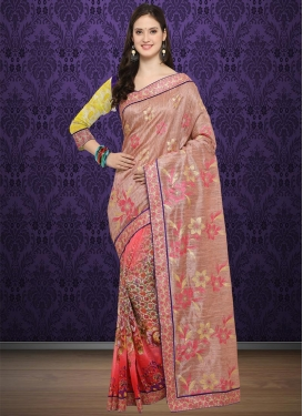 Beige and Salmon Lace Work Trendy Saree