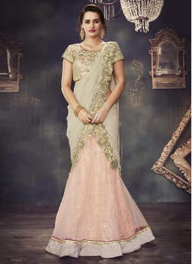 Beige and Salmon Net Designer Classic Lehenga Choli