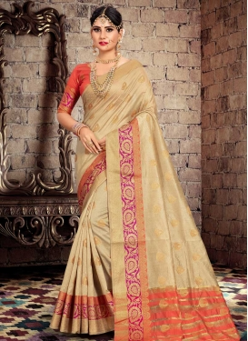 Beige and Salmon Traditional Designer Saree