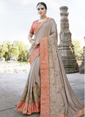 Beige and Salmon Traditional Saree