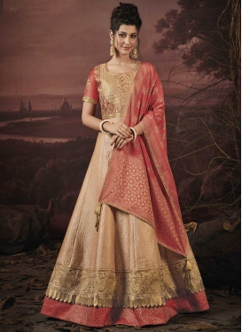 Beige and Salmon Trendy Lehenga For Festival