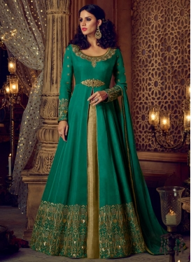 Beige and Sea Green Kameez Style Lehenga For Festival