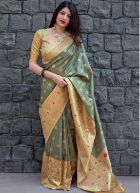 Beige and Sea Green Traditional Designer Saree