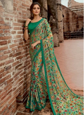 Beige and Sea Green Traditional Saree For Ceremonial