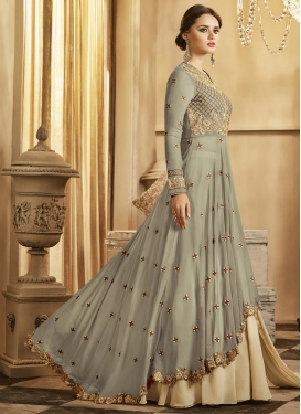 Beige and Silver Color Embroidered Work Kameez Style Lehenga Choli