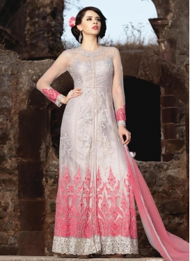 Beige and Silver Color Trendy Designer Salwar Kameez For Festival