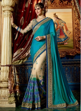 Beige and Teal Fancy Fabric Half N Half Designer Saree For Bridal