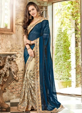 Beige and Teal Half N Half Trendy Saree For Festival