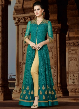 Beige and Teal Pant Style Designer Salwar Kameez For Ceremonial