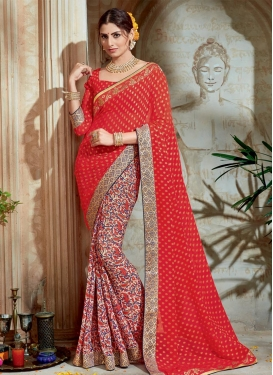 Beige and Tomato Brasso Georgette Half N Half Trendy Saree For Ceremonial