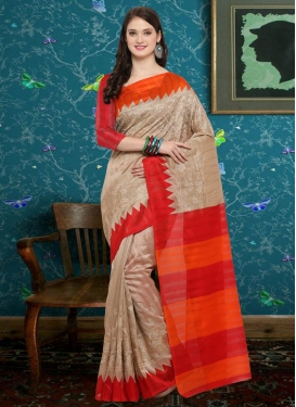 Beige and Tomato Classic Saree For Casual