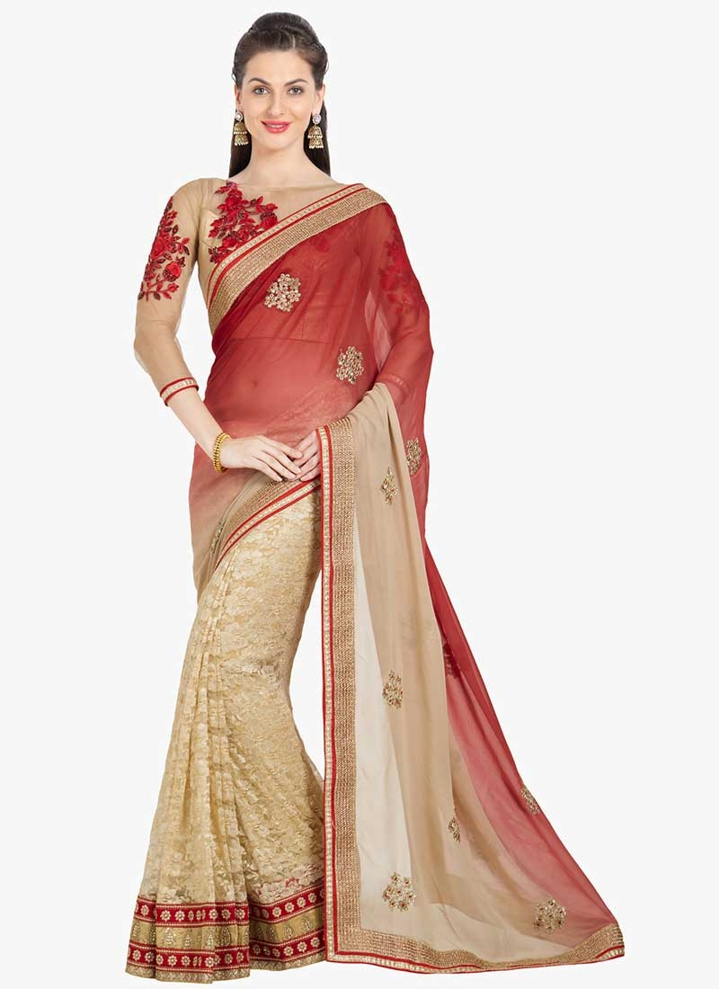 Beige and Tomato Embroidered Work Designer Half N Half Saree
