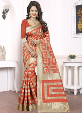 Beige and Tomato Silk Classic Saree