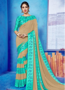 Beige and Turquoise Classic Saree