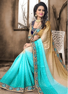 Beige and Turquoise Designer Contemporary Style Saree