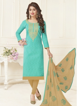 Beige and Turquoise Embroidered Work Churidar Salwar Suit