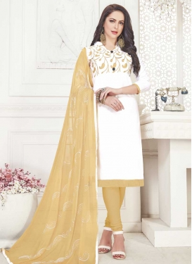 Beige and White Trendy Straight Salwar Kameez