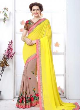 Beige and Yellow Embroidered Work Half N Half Designer Saree