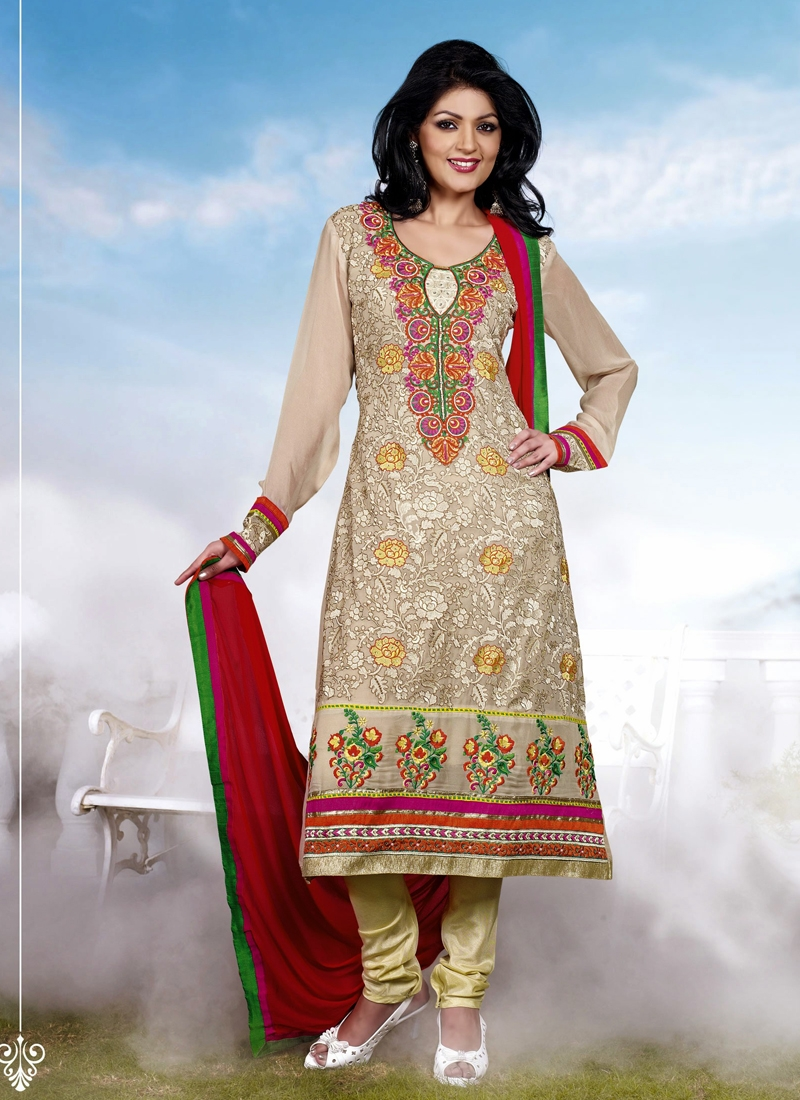 Beige Color Karachi Work Party Wear Salwar Suit