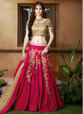 Beige Embroidered Work A - Line Lehenga