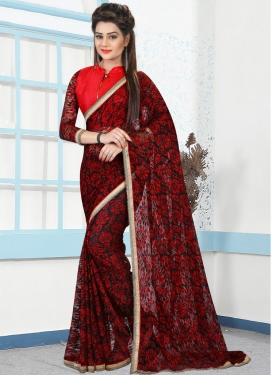 Best  Black and Red Beads Work Classic Saree