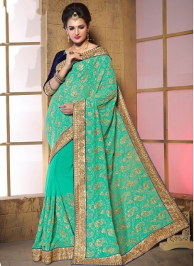 Best Chicken Work Faux Georgette Wedding Saree