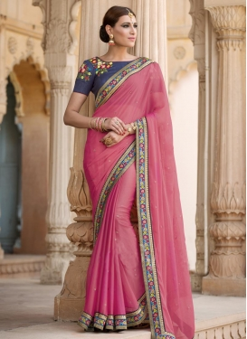 Best Embroidered Work Faux Chiffon Hot Pink and Navy Blue Classic Saree For Festival