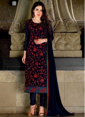 Best  Embroidered Work Faux Georgette Straight Pakistani Salwar Kameez