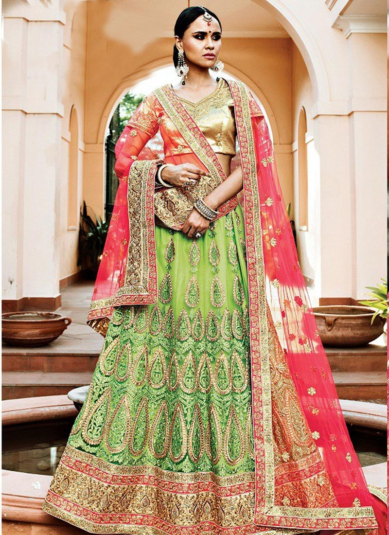 Best  Mint Green and Red Booti Work Trendy A Line Lehenga Choli