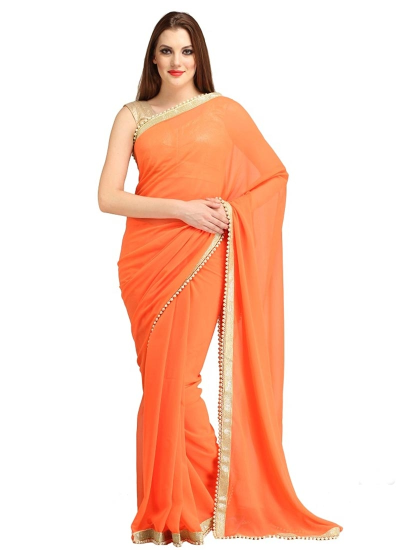 Best Orange Color Lace Work Casual Saree