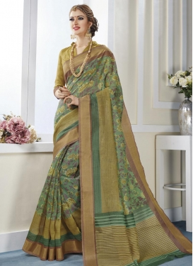 Best Print Work Art Silk Classic Saree For Casual