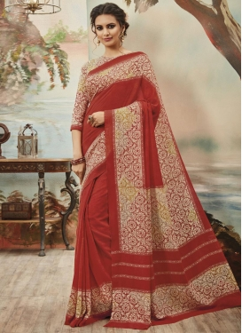 Best Print Work Art Silk Cream and Red Trendy Saree For Casual