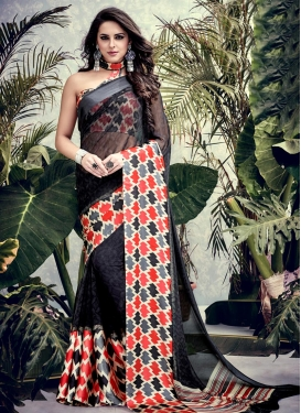Best Print Work  Faux Georgette Contemporary Style Saree