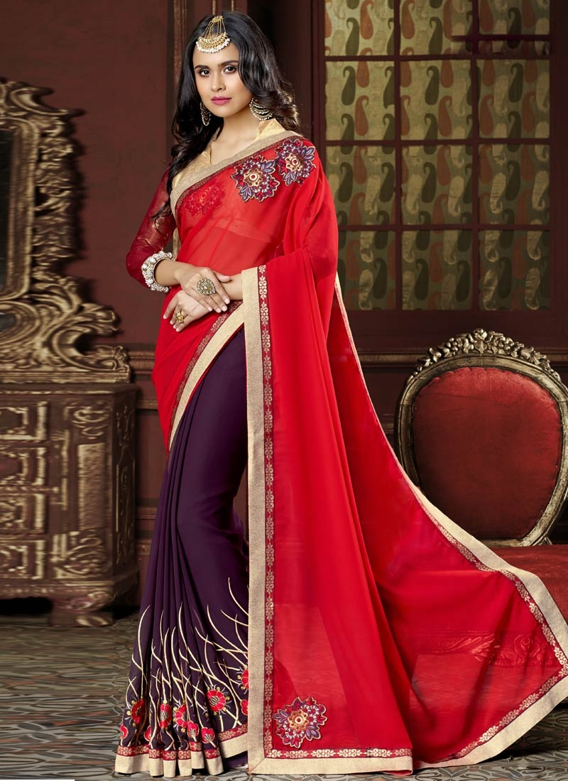 Best Purple Color Booti Work Half N Half Party Wear Saree
