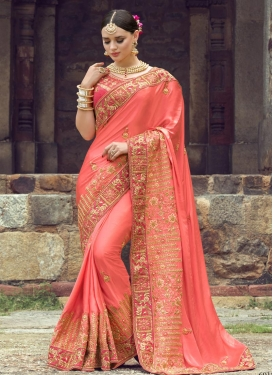 Best Rose Pink and Salmon Contemporary Saree For Bridal